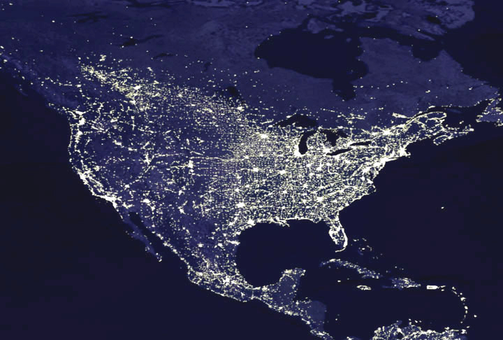 USA lights at night, courtesy NASA