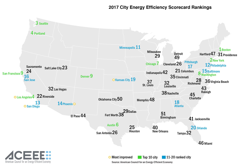 The City Energy Efficiency Scorecard ACEEE - Map of us large cities