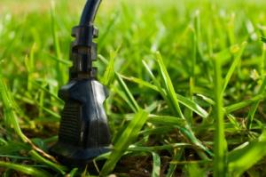Electrical plug in a field of grass