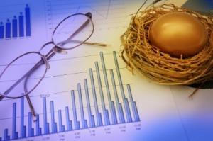 Financial chart with a golden nest egg