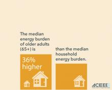 Graph showing that the energy burden of older adults is 36% higher than the median energy burden